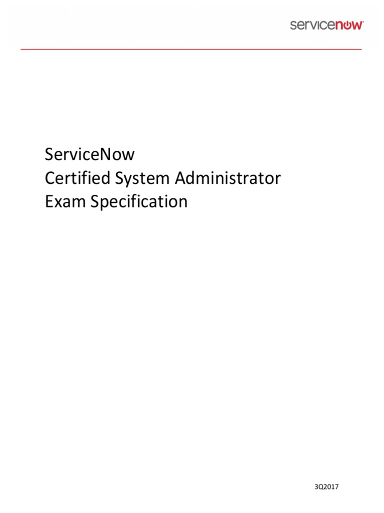 Servicenow Sys Admin Exam Specs Multiple Choice Test Assessment