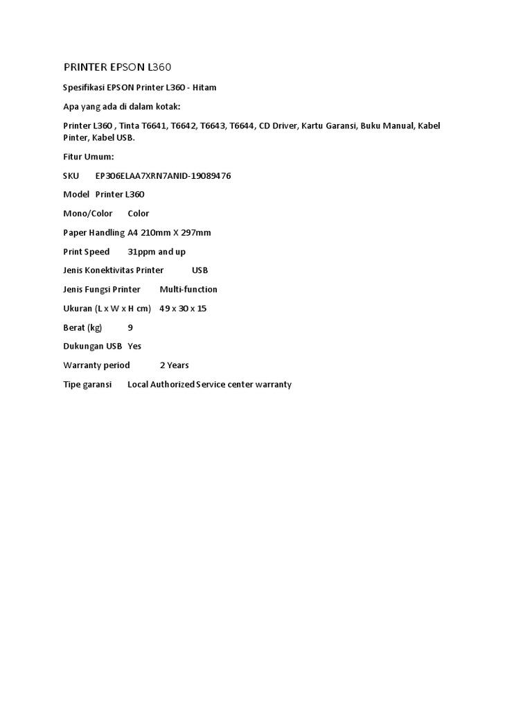 Harga Printer Epson L360 Termurah 2018 Lenovo All In One Aio 310 Fock00 05id White 1531957865v1
