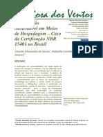 Certificação Sustentável em Meios de Hospedagem – Caso da Certificação NBR 15401 no Brasil