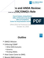 Inspections and ANDA Review CDER OC OMQ's Role Francis Godwin OMQ CDER GPhA Fall 2016