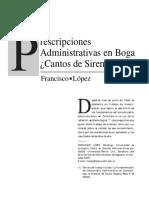 Prescripciones Administrativas en Boga Cantos de Sirenas