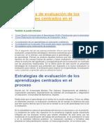 Estrategias de Evaluación de Los Aprendizajes Centrados en El Proceso