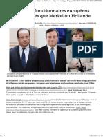 Les Hauts Fonctionnaires Européens Mieux Payés Que Merkel Ou Hollande