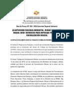 NOTA DE PRENSA N° 004- 2018 - SE INSTALÓ OFICIALMENTE GRUPO DE TRABAJO DE FORMALIZACIÓN MINERA