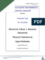 Memoria y Manual de Operacion PTAR Casalini