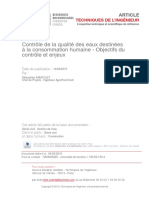 2 Contrôle de La Qualité Des Eaux Destinées à La Consommation Humaine - Objectifs Du Contrôle Et Enjeux