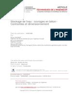 7 Stockage de l'Eau Ouvrages en Béton - Contraintes Et Dimensionnement