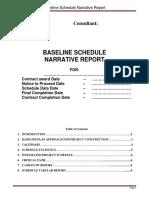 Baseline Schedule Narrative Report
