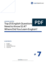 07 Where Did You Learn English