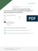 El discurso referido en los manuales sobre análisis del discurso y pragmática lingüïstica