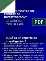 CÓMO SE DEBE PRESENTAR UN REPORTE DE INVESTIGACIÓN.ppt