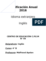 Planificación Anual 2016 4to Cpem 55