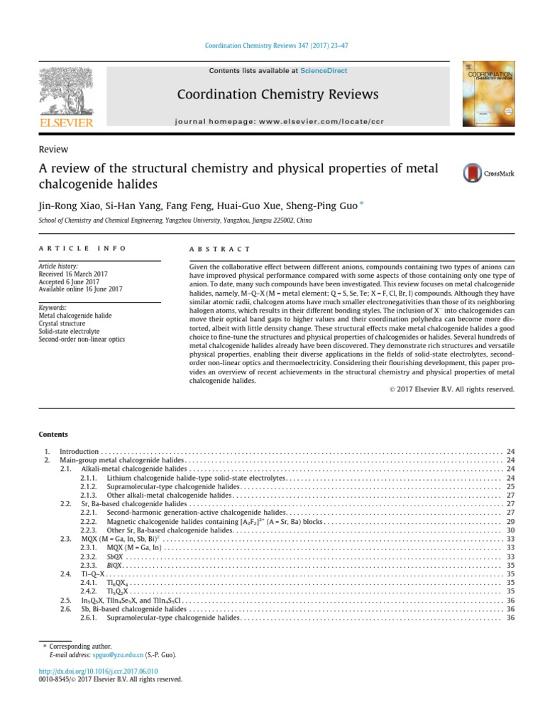 A review of the structural chemistry and physical properties of a review of the structural chemistry and physical properties of metal chalcogenide halides lithium ion battery crystal structure sciox Choice Image
