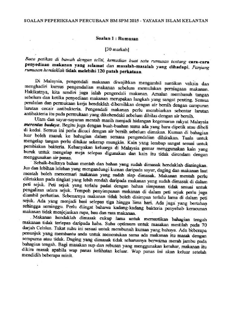 Koleksi Soalan Rumusan Bm Peperiksaan Percubaan Spm 2015 2017