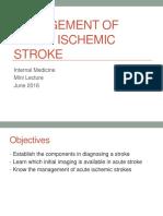 Management of Acute Ischemic Stroke