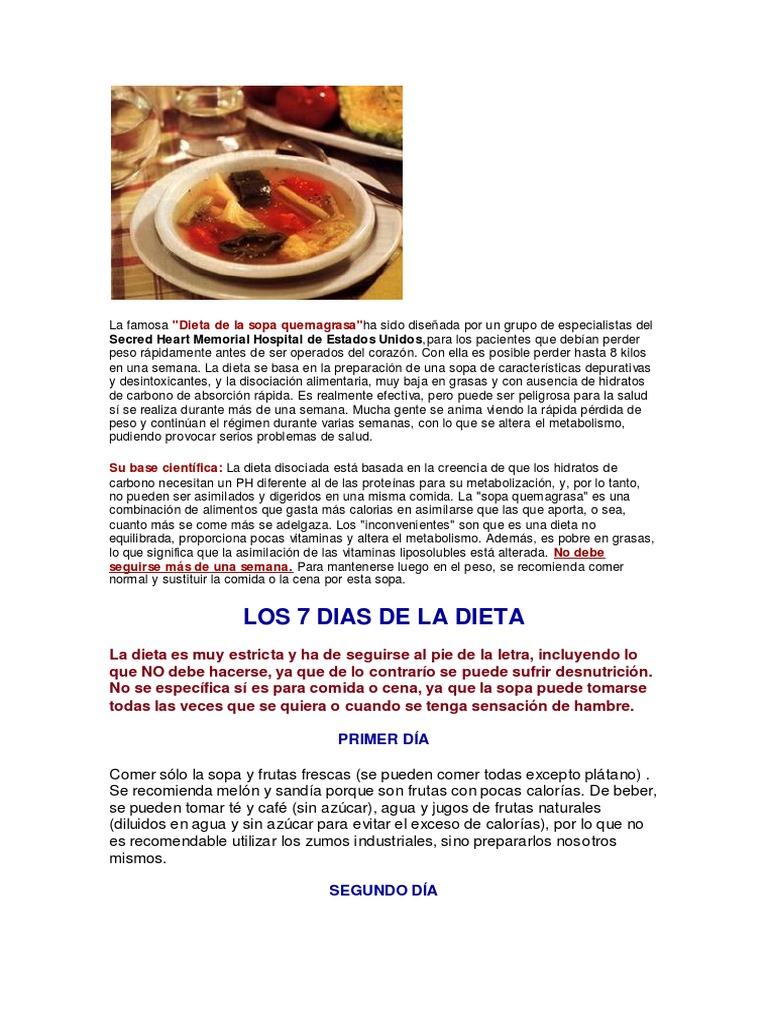 Dieta disociada y sensacion de hambre despues de comer