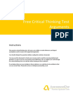 Free Critical Thinking Test Arguments Solutions
