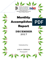 Monthly Accomplishment Report December 2017