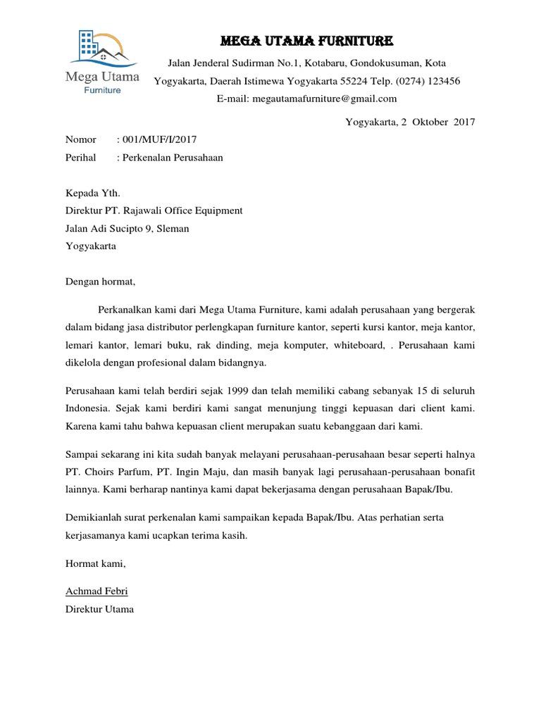 Contoh Surat Perkenalan Dalam Surat Niaga