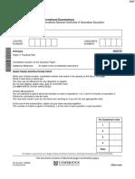 November 2016 - Question Paper Physics IGCSE