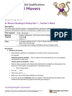 A1 Movers 2018 Lesson Plan Reading and Writing Part 1
