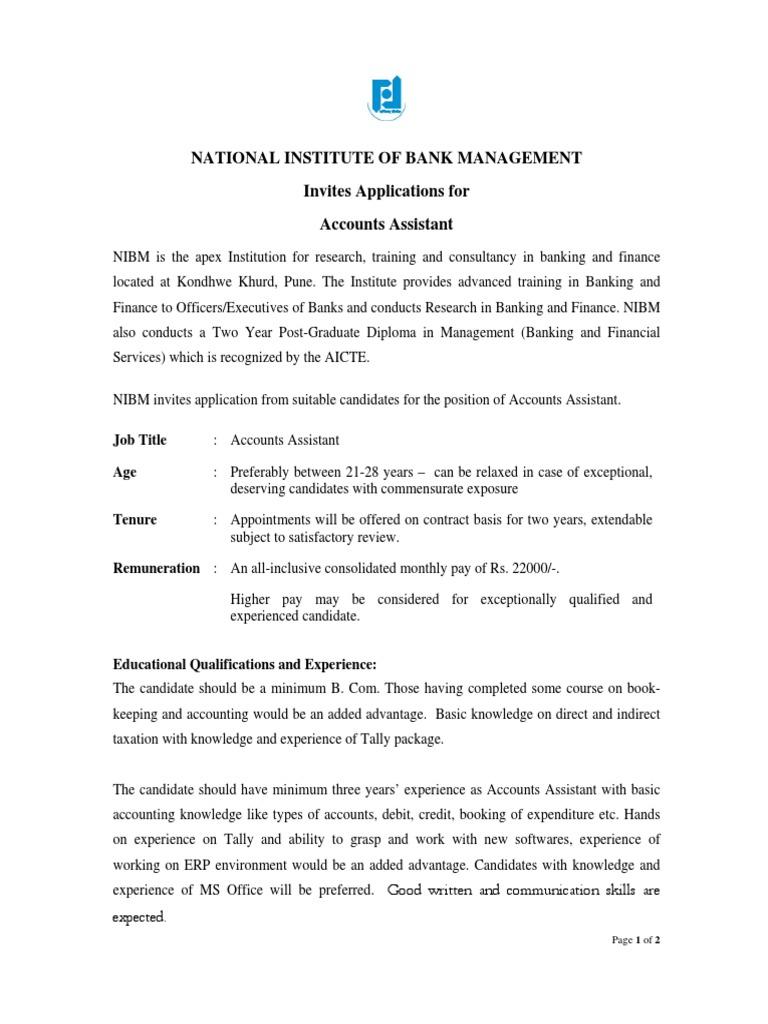 Accounts Assistant(1) | Banks | Postgraduate Education