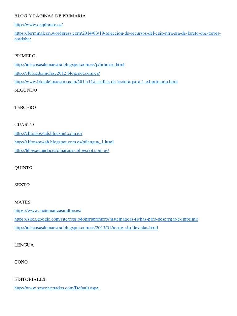 Blog y Páginas de Primaria