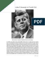 Discours de John F. Kennedy, Le 27 Avril 1961