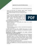 Requisitos Para La Apertura de Cuenta de Detracciones