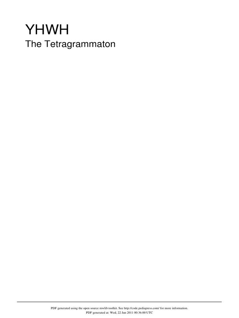YHWH - The Tetrarammation | Tetragrammaton | Jehovah