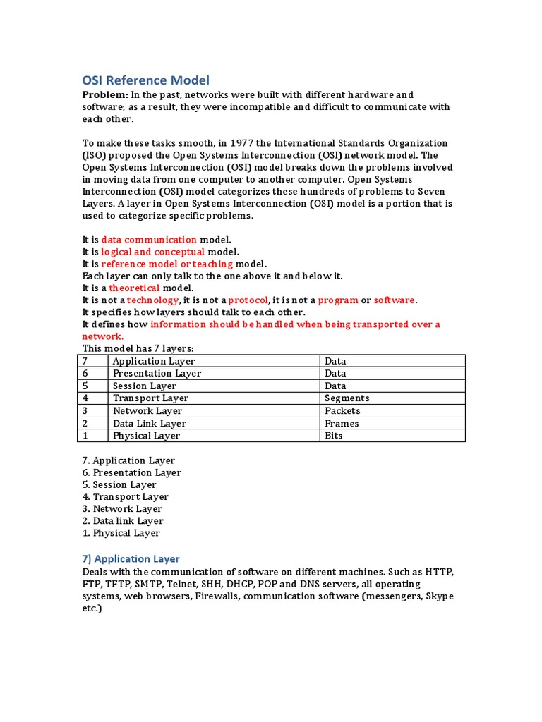 OSI Reference Model docx   Osi Model   Transmission Control Protocol