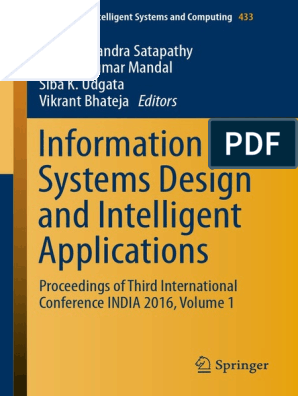 Information Systems Design and Intelligent Applications Volume 1 pdf