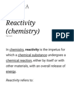Reactivity (Chemistry)