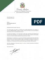 Carta de condolencias del presidente Danilo Medina a Vilma Guzmán viuda Lulo por fallecimiento de su esposo, Emilio Lulo Gitte