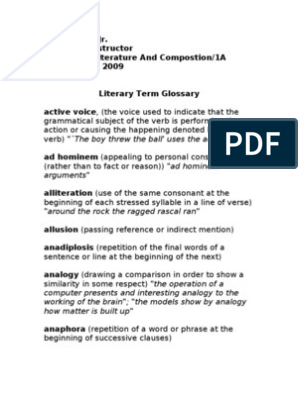 AP Literature Definitions | Sentence (Linguistics) | Reason