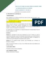 Bancarización Túo La Ley Para La Lucha Contra La Evasión Ds Nº 150-2007-Ef