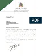 Carta de condolencias del presidente Danilo Medina a Frank Euclides Soto Sánchez por fallecimiento de su madre, Altagracia del Carmen Sánchez viuda Soto