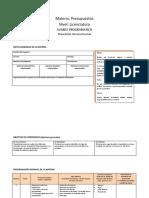 Calendario Materia Presupuestos Nivel Licenciatura