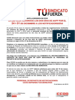 2375226-Comunicado CCOO Conseguidos AAPP 24 y 31 Diciembre Para Notificadores 2018-02-08