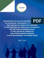 Convention Collective Des Enseignants Et Formateurs Des Centres de Formation Continue Et d'Apprentis