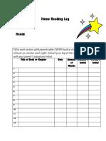 home reading log