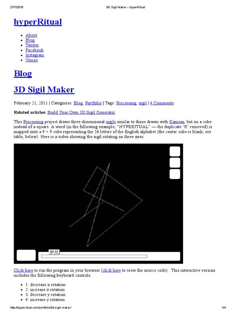 3D Sigil Maker « HyperRitual | 3 D Computer Graphics | Areas