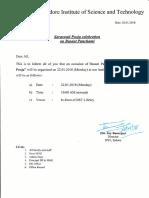 Notice Regarding Saraswati Pooja (20.01.2018)