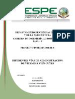 Proyecto Diferentes Vias de Administracion de Vitamina C en Cuyes