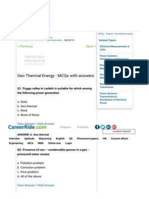 Geo Thermal Energy - MCQs With Answers | Electricity Generation