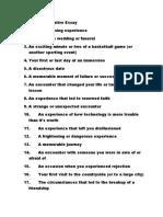 Topics for a Narrative Essay