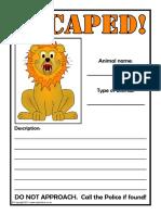 Escaped Animal Descriptions