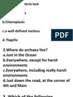 Quiz Archaea Bcteria