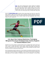 Dua Kunci Kesempurnaan Tommy Sugiarto Di Thailand Masters 2018.