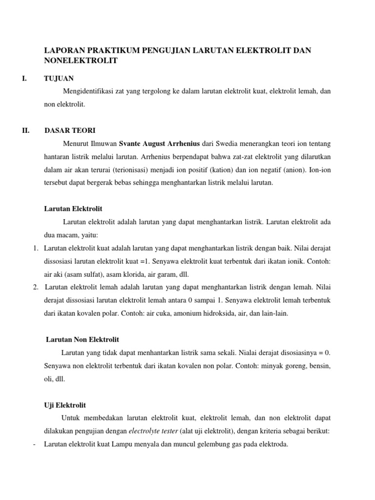 Laporan Praktikum Pengujian Larutan Elektrolit Dan Nonelektrolit Docx